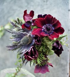 Deep purples and reds with thistle... unique arrangement for a winter wedding.   (photo credit: josie miner)