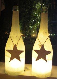 Bottle with Candle, Flaschen-Windlichter mit Teelicht, zum hängen oder stellen. Weihnachten kommt bestimmt ;-) Für innen und aussen.
