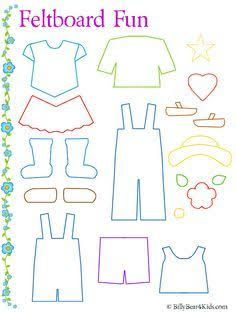 Felt board clothes template as well as many others such as lady bug counting, ice cream cone colors, etcFelt board clothes template is a good idea because children can dress a character as you tell the story. This can help them get familiar with gett Quiet Book Templates, Quiet Book Patterns, Felt Patterns, Felt Board Templates, Applique Templates, Applique Patterns, Card Templates, Felt Board Stories, Felt Stories