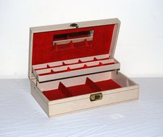 Jewelry Box Vintage 1960s With Red by CheekyVintageCloset on Etsy, $28.00