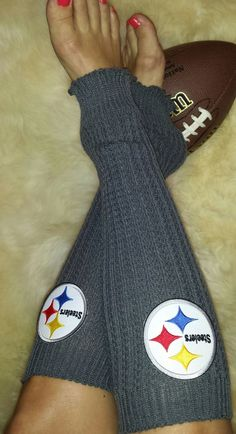 Pittsburgh Steelers Cable Knit Leg Warmers with Steelers embroidered logos Dress them up or down. Adds a great touch of team spirit to any fan wardrobe. They're soft and stretchy. Can be worn with boo
