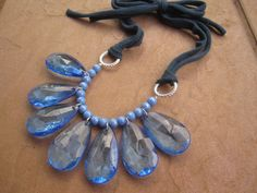 Statement Bib Necklace with Blue Teardrops Silver by sweetclover05, $28.00