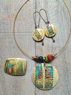 Et encore .. je ne m'en lasse pas Polymer Clay Kunst, Polymer Clay Necklace, Fimo Clay, Polymer Clay Earrings, Jewelry Crafts, Jewelry Art, Jewellery, Handmade Beads, Paper Beads