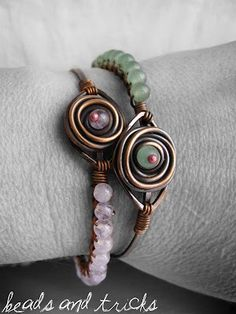 Rose bracelet: copper and semi-precious stones {amethyst and aventurine}