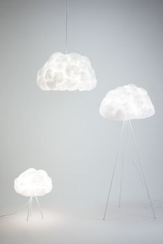 Lamp Shade Designed To Mimic The Shape And Texture Of A Cloud.