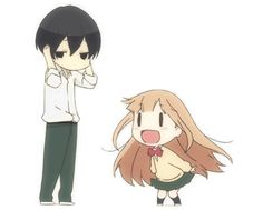 Tanaka and Miyano Cute Anime Chibi, Kawaii Chibi, Cute Anime Pics, Cute Anime Couples, Kawaii Anime, Anime Gifs, Anime Manga, Fanart, Anime Expressions