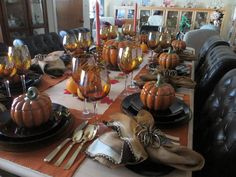 Thanksgiving is just around the corner and it's time to set the table with fall themes. Pat wanted to use the Pier One covered pumpkin soup . Thanksgiving Tablescapes, Pumpkin Soup, Autumn Theme, Table Settings, Fall, Butternut Squash Soup, Autumn, Squash Soup, Fall Season