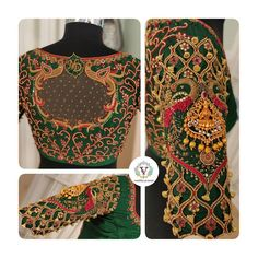 Bridal ornate blouse design with real jumkas. Stunning green color designer blouse with hand embroidery work. Blouse with jumkhi hangings. Wedding Saree Blouse Designs, Best Blouse Designs, Silk Saree Blouse Designs, Blouse Neck Designs, Traditional Blouse Designs, Stylish Blouse Design, Blouses, Work Blouse, Maroon Color