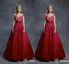 2015 Sexy Red Reem Acra Prom Dresses Ball Gown Cap Sleeve Lace V-Neck Floor Length Evening Gowns Sheer Formal Beauty Queen Pageant Dress New, $115.17 | DHgate.com