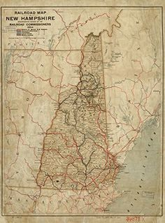 Vintage 1894 Map of Railroad map of New Hampshire accompanying report of the railroad commissioners 1894 Township and county map showing relief by hachures cities and towns and the railroad network distinguished by color and name New Hampshire United States