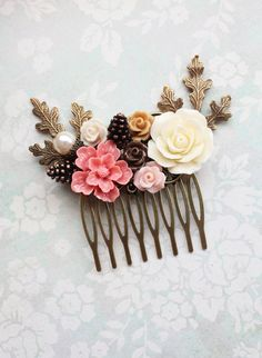 Coral Pink Bridal Hair Comb Earth Tone Woodland by apocketofposies