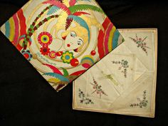 Graphic 1920s Art Deco Tropical Influence Gift Box 6 Handkerchiefs - The Gatherings Antique Vintage