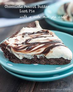 Chocolate Peanut Butter Lust Pie {with a cake mix pie crust!}