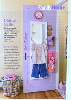 Kids Closet Organization idea || Love the pop of color and mirror inside this closet door