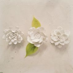 Loving everything about these pretty porcelain flowers that just came in.
