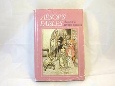 Vintage Aesop's Fables Book Arthur Rackham Illustrations B/W Full Page Illustrations G. K. Chesterton Intro. 1912 Facsimile Edition HCDJ by BonniesVintageAttic on Etsy