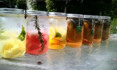 perfect day for sun tea making-  flavored waters and sun tea