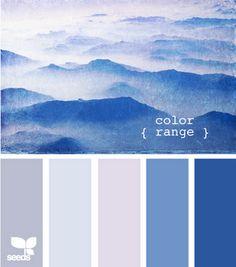 Design Seeds for all who color color range Colour Pallette, Colour Schemes, Color Combos, Color Patterns, Blue Wall Colors, House Colors, Paint Colors, Palette Couch, Pantone