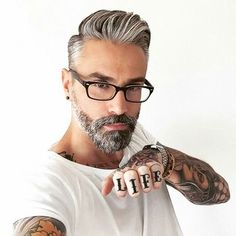 Man with silver fox & pompadour hairstyle
