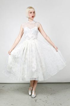 5db1fb0213f8 Vintage 1950s White Organza Dress with Rhinestone Peter Pan Collar and Full  Skirt