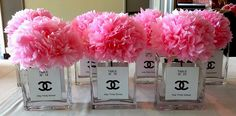 tissue flower centerpieces for Paris themed party, Holy Trinity High School Semi-formal, Le Parc Banquet Hall, Thornhill, ON; design by Davis Floral Creations 60th Birthday Party Decorations, Paris Birthday Parties, Birthday Ideas, Chanel Birthday Party, Chanel Party, Chanel Bridal Shower, Parisian Party, Chanel Decor, Paris Theme