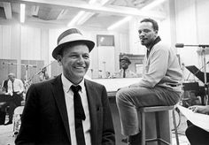 """Frank Sinatra & Q during the recording of Sinatra's """"It Might As Well Be Swing"""" LP with Count Basie & His Orchestra at United Recording Studios in Hollywood in early June 1964. Jones was the arranger and conductor."""