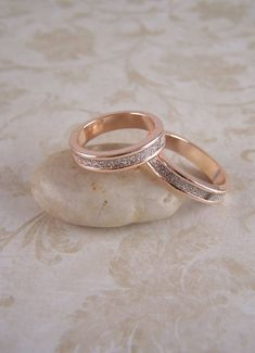 33f05febd Rose Gold Stacking Rings 14 kt Rose Gold Stardust Stackable Rings, Rose Gold  Bands Size 8 1/2 Rose Gold Jewelry Birthday Gifts for Her Women