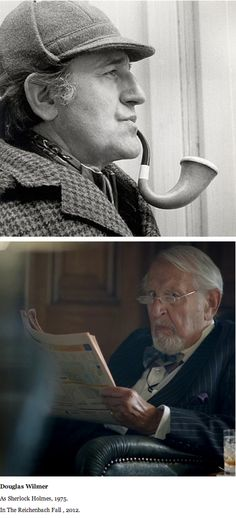 Douglas Wilmer  As Sherlock Holmes, 1975.  In The Reichenbach Fall, 2012. Sitting in the club when John storms in looking for Mycroft.