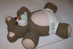 CHUBBY TEDDY BEAR CAKE Diy Teddy Bear, Teddy Bear Cakes, Teddy Bear Baby Shower, Baby Boy Shower, Teddy Bears, Baby Shower Desserts, Baby Shower Favors, Baby Shower Cakes, Baby Shower Decorations