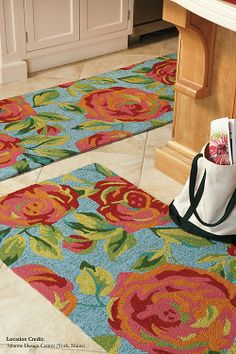 Aphrodite Rug in Lake (floral Pattern, outdoor rugs) | Handmade Area Rugs from Company C