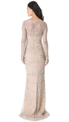 #Marchesa  Beaded Lace Gown