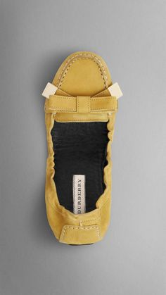 Bow Detail Nubuck Moccasins | Burberry- $195