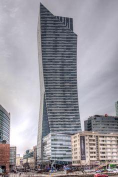 The unique Złota 44 is a residential skyscraper.  An icon of #Śródmieście, #Warsaw, #Poland.