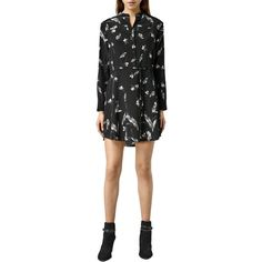 AllSaints Sanko Canna Dress, Black (20.620 RUB) ❤ liked on Polyvore featuring dresses, maxi dress, long sleeve floor length dress, shirt dress, long sleeve shirt dress and print maxi dress