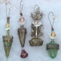 Early tinsel wrapped ornaments