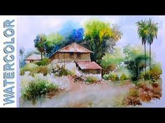 watercolor tutorial | how to paint a landscape painting in watercolor for beginners | Urdu Hindi - YouTube