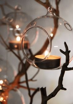 Hanging Glass Tea Light Holders 3in (set of 6) - Great for Hanging off of Branches as centerpiece