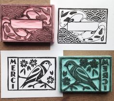 Engravings and patterns printed by hand - La Fabutineuse Label Stamp: Engravings and patterns printed by hand Made in Angers! Art Scratchboard, Homemade Stamps, Eraser Stamp, Stamp Carving, Fabric Stamping, Linoprint, Stencils, Wood Stamp, Linocut Prints
