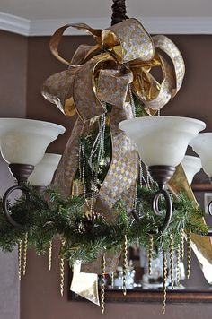 Chandelier decorated for Christmas