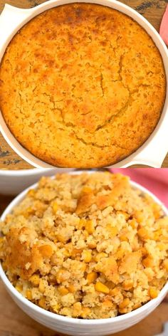 This Cornbread Casserole is the perfect addition to any holiday table. With its sweet corn flavor, it goes great as a side dish with ham, turkey, chicken, and even roast beef. It is an easy make-ahead that is the perfect comfort food.