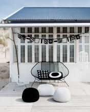 variation of an acapulco chair + black + white + outdoor Outdoor Rooms, Outdoor Living, Outdoor Office, Outdoor Furniture, Outdoor Lounge, Antique Furniture, Deck Design, House Design, White Deck
