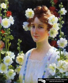 Among the Hollyhocks  Charles Courtney Curran