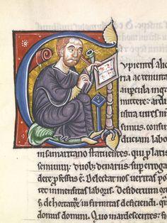 Petrus Lombardus in historisierter Initiale. Nordfrankreich, vor 1159 (Msc.Patr.120, fol. 3r).