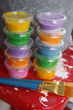 Sidewalk chalk paint.  Only 3 ingredients...that I already have :)