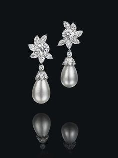 Natural Pearl and Diamond Ear Pendants by Harry Winston