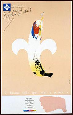Grapus s'agite à Montréal. Du 15 mars au 29 avril 1984. Gouvernement du Québec... Ministère des Affaires Culturelles. Musée d'Art Contemporain. « Honi soit qui mal y pense ». « Quand il y a une tache c'est que nous l'avons voulue... à bientôt ».