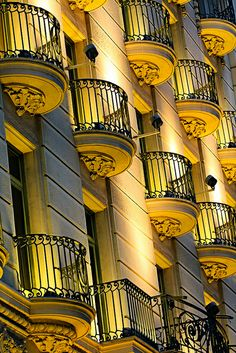 Hotel Majestic Balconies at night | Barcelona