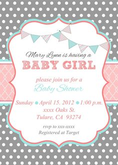 @Jess Liu LoreyBaby Girl Shower Invitation by MMcardDesigns on Etsy, $20.00