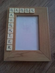 What a beautiful way to use scrabble letters to make any photo frame personalised #fathersday #daughter #craft
