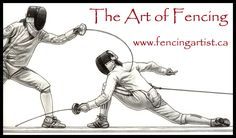 fencing and fencers artwork depicting the sport of fencing by fencingartist ~ www.fencingartist.ca ~ women's epee